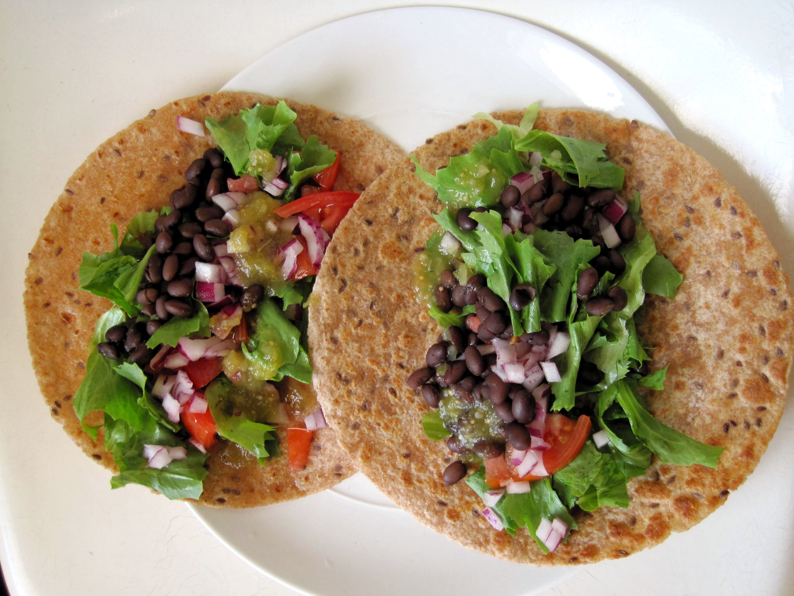 Black Bean Tacos with Roasted Tomatillo Salsa |